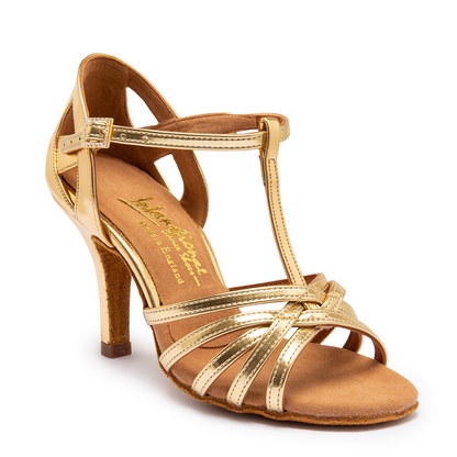 "Lucia - Gold - Pictured on the 3"" Elite heel."