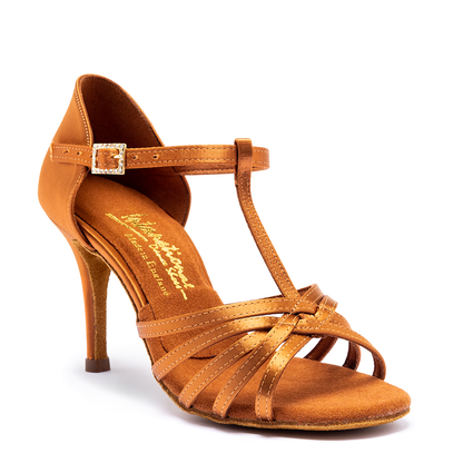 "Bela - Tan Satin - Pictured on the 3"" Ultra Slim heel."