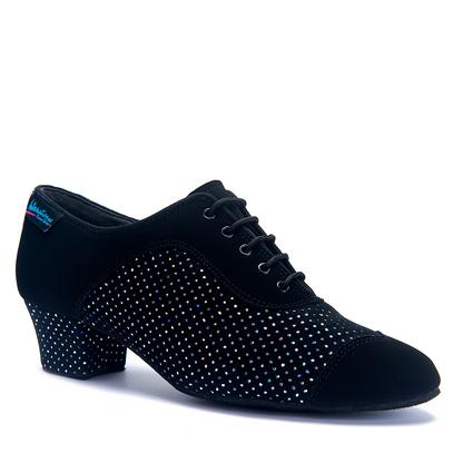 "CK Line - Black Nubuck/Black Silver Holo - Pictured on the 1.5"" CK heel."