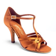 "Mia T-Bar - Tan Satin - Pictured on the 3"" Elite heel."