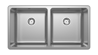 ABEY LAGO DOUBLE BOWL TOPMOUNT SINK WITH ACCESSORIES - LG200