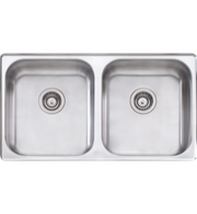 OLIVERI NU PETITE DOUBLE BOWL SINK WITH 3 ACCESSORIES - NP60U