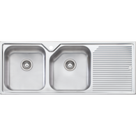OLIVERI NU PETITE DOUBLE BOWL TOPMOUNT SINK WITH 3 ACCESSORIES - NP671/NP672