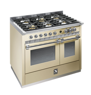 STEEL 100CM ASCOT FREESTANDING COMBI-STEAM OVEN  - 6 GAS BRASS BURNERS - A10SEF-6W OT