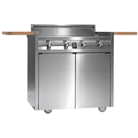 STEEL FOUR BURNER BBQ WITH TROLLEY - I9C-4