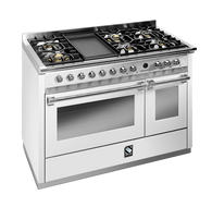 STEEL 120CM ASCOT FREESTANDING MULTI FUNCTION OVEN  - 6 GAS BRASS BURNERS AND TEPPANYAKI GRILL PLATE - A12FF-6TOT