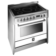 STEEL 90CM GENESI FREESTANDING COMBI-STEAM OVEN  - INDUCTION COOKTOP - G9S-6I