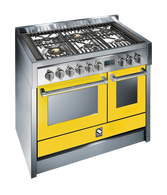 STEEL 100CM GENESI FREESTANDING MULTI FUNCTION OVEN  - 6 GAS BRASS BURNERS - G10FF-6WOT