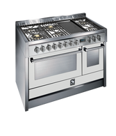 STEEL 120CM GENESI FREESTANDING MULTI FUNCTION OVEN  - 6 GAS BRASS BURNERS AND TEPPANYAKI GRILL PLATE - G12FF-6TOT