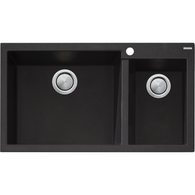 OLIVERI SANTORINI BLACK LARGER 1 & 1/2  BOWL SINK - ST-BL1575 EX DISPLAY*
