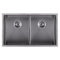 ABEY PIAZZA DOUBLE BOWL UNDERMOUNT SINK - GUN METAL GREY - CR340DGM