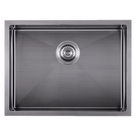 ABEY PIAZZA 590MM SINGLE BOWL UNDERMOUNT SINK - GUN METAL GREY - CR540UGM