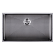 ABEY PIAZZA 770MM SINGLE BOWL UNDERMOUNT SINK - GUN METAL GREY - CR720UGM