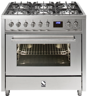 STEEL 90CM ENFASI FREESTANDING OVEN - 6 GAS BURNERS - E9F-6