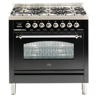 ILVE 90CM NOSTALGIE SERIES MATT BLACK FREESTANDING OVEN - PN906MP/M