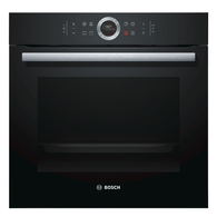 BOSCH 60CM BLACK GLASS BUILT IN OVEN - SERIES 8 - HBG633BB1B