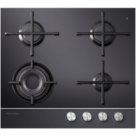 FISHER & PAYKEL 60CM BLACK GAS ON GLASS COOKTOP - CG604DNGGB1
