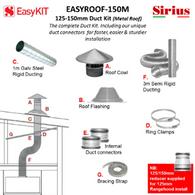 SIRIUS 150MM METAL ROOF DUCTING KIT - EASYROOF150M