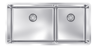 ABEY LUCIA 50/34 DOUBLE BOWL SINK WITH DRAIN TRAY - LUCIA230-1 DISPLAY*