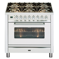 ILVE 90CM QUADRA DUAL FUEL FREESTANDING OVEN - SELF CLEANING - PW906MP