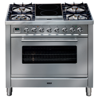 ILVE 90CM QUADRA DUAL FUEL FREESTANDING OVEN WITH 2 ZONE INDUCTION - SELF CLEANING - PW90IMP