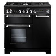 FALCON 90CM BLACK KITCHENER DUAL FUEL FREESTANDING OVEN - SPLIT OVENS - KCH90DFFBL