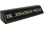 """photos shows 2"""" x 8"""" name plate mounted on rosewood block from Cool School Studios (28RW)."""
