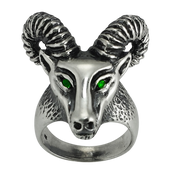Aries The Ram - Sterling Silver Biker Ring with Green CZ