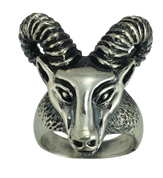 Aries The Ram - Sterling Silver Biker Ring