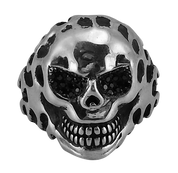 Sinister Grin Skull Biker Ring with Oxidized Silver and Black CZs