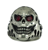 Sinister Grin Skull Biker Ring with Oxidized Silver and Red CZs