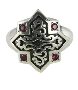 Celtic Knot in a Star, Sterling Silver Ring with Red CZ