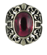 Stunning Red Stone Gothic Style Sterling Silver Ring with Cross Sides