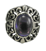 Large Sterling Silver Gothic Purple Stone Ring With Cross Sides