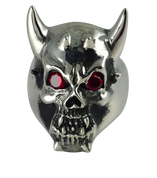 Devil's Own: Sterling Silver Horned Devil Ring- Red