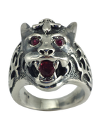 The Beast of the Jungle: Sterling Silver Tiger Head Ring with Red CZ