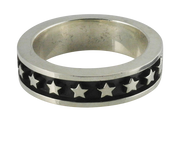 Oxidized Silver Stackable Star Band