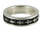 Oxidized Silver Fleur De Lis Stackable Band
