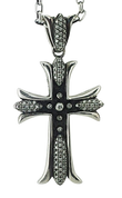 1 CT White Diamond and Sterling Silver Cross Pendant