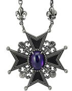 French Fleur De Lis Cross Purple Stone Pendant w/ Attached Fleur De Lis Link Chain