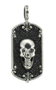 "Reaper Skull Dog Tag with Rose Window and Moroccan Pattern Background w/ 24"" Link Chain"