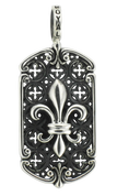 "French Fleur De Lis with Moroccan Pattern Background w/ 24"" Link Chain"