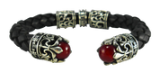 Biker Fleur De Lis Leather Sterling Silver and Genuine Leather Cuff in Red