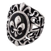 NEW- Fleur De Lis on Onyx Gothic Biker Ring in Sterling Silver