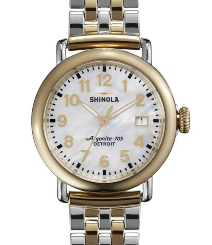 The runwell by Shinola womens watch in stainless steel gold and mother of pearl
