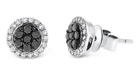 KC Designs Black And White Diamond Stud Earrings in 14k White Gold with 50 Diamonds