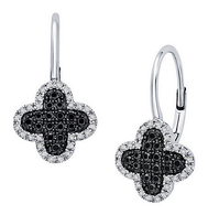 KC Designs Black And White Diamond Clover Earrings in 14k White Gold with 88 Diamonds