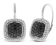 KC Designs Black And White Diamond Large Cushion Earrings in 14k White Gold with 212 Diamonds