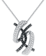 KC Designs Black And White Diamond Necklace in 14k White Gold with 80 Diamonds