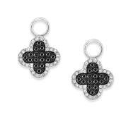 KC Designs Black And White Diamond Clover Earring Charms in 14k White Gold with 88 Diamonds